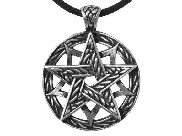Olavi Celtic Classic Pentagram Pewter Pendant on Black Cotton Cord