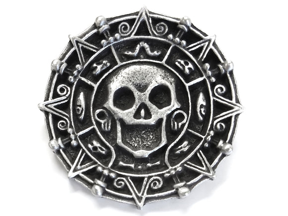 TreasureCast Pirate Medallion Large Pewter Button Antique Silver Color