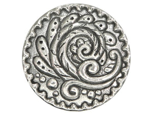 Danforth Rosemail 1 inch Pewter Button Antique Silver Color