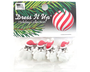 Christmas Santa Faces Novelty Buttons Dress It Up Theme Pack