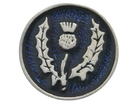 TreasureCast Round Scottish Thistle<br> 1 inch Pewter Button<br> Silver / Blue Color