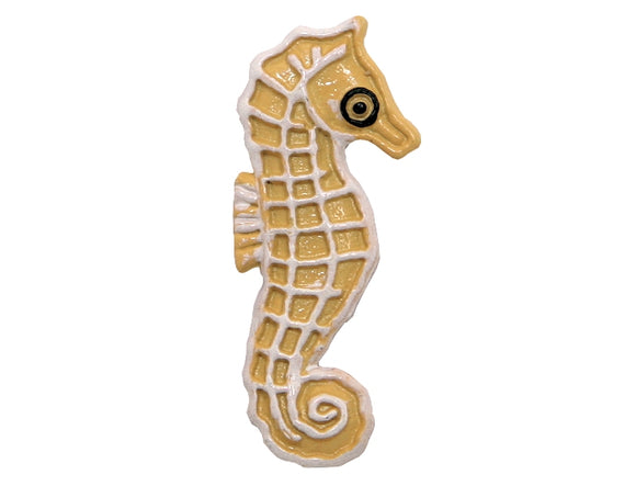 Sea Horse Large Metal Button Tan Color
