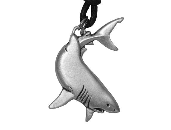 TreasureCast Shark Pewter Pendant Necklace on Black Cotton Cord