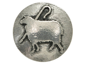 Ram's Horn Sheep and Crook 13/16 inch Pewter Button Antique Silver Color