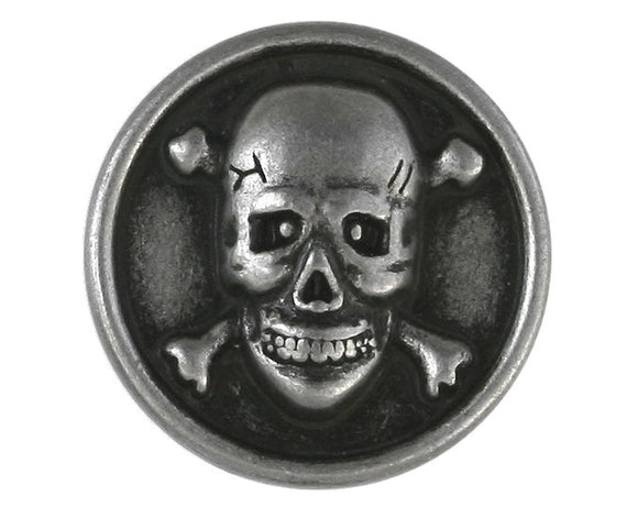 Skull & Bones 5/8 inch Metal Button Antique Silver Color