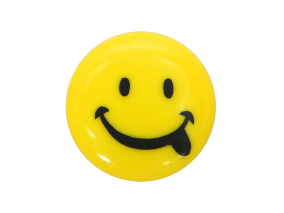 Dill Smiley Face 9/16 inch Novelty Button Yellow Color