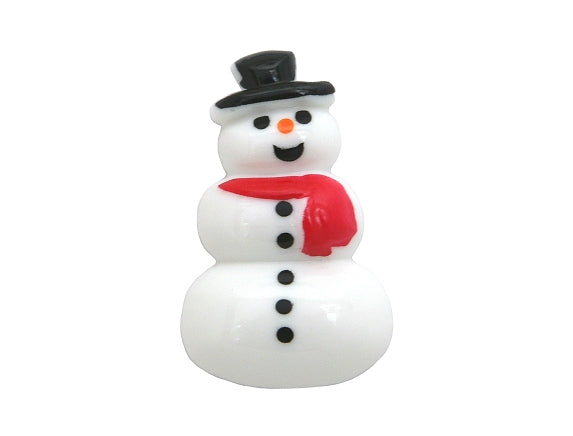 Dill Snowman Large Novelty Button White Color