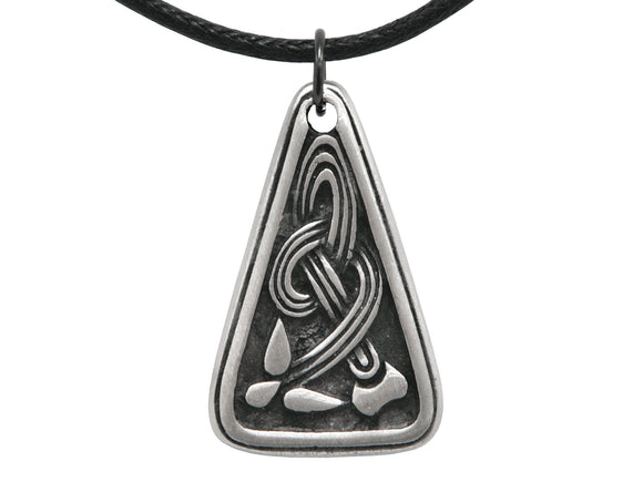 Olavi Celtic Kingdom Soaring Knot Pewter Pendant on Black Cotton Cord