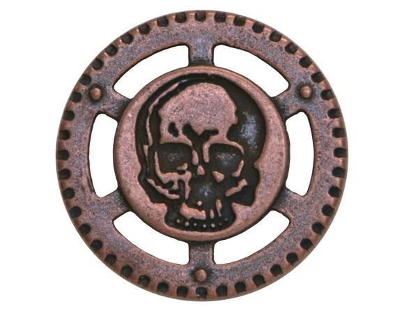 Dill Steampunk Skull 7/8 inch Metal Button Antique Copper Finish
