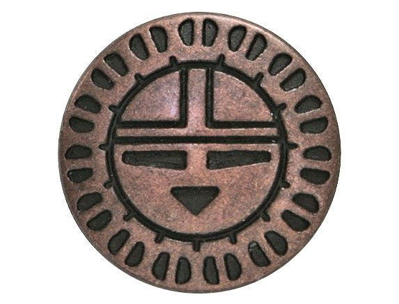 Zuni Sunface 11/16 inch Metal Button Antique Copper Color