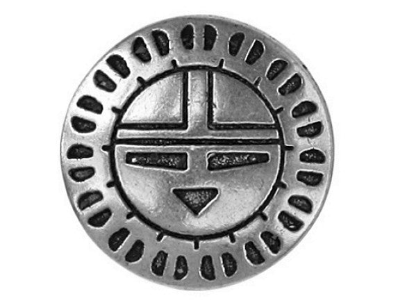 Zuni Sunface 11/16 inch Metal Button Antique Silver Color