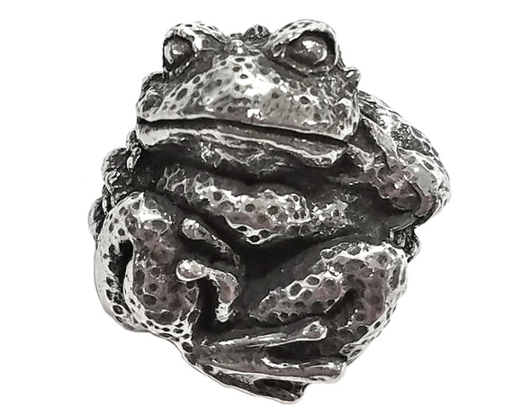 Green Girl Toady 7/8 inch Pewter Bead Antique Silver Color