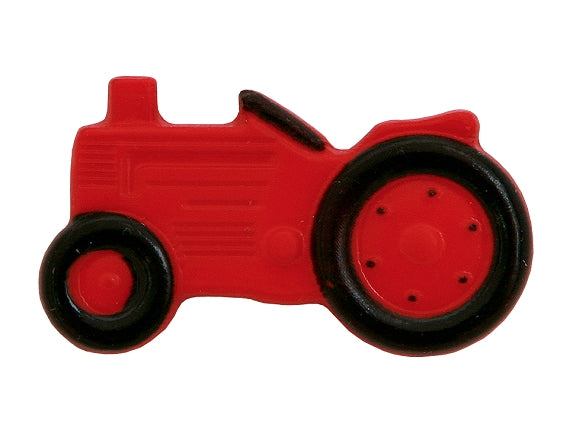 Dill Tractor Large Novelty Button Red / Black Color