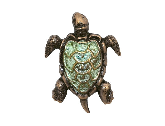 Susan Clarke Turtle 11/16 inch Metal Button Green Color