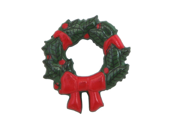 Dill Christmas Wreath Large Novelty Button Green Color