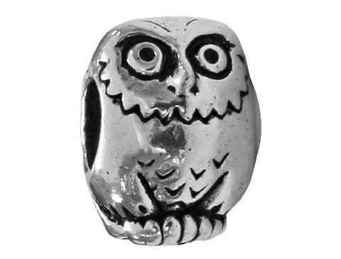 TierraCast Owl 7/16 inch Silver Plated Pewter Euroo Bead