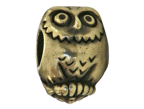 TierraCast Owl<br> 7/16 inch Pewter Bead<br> Brass Plated Pewter Euro