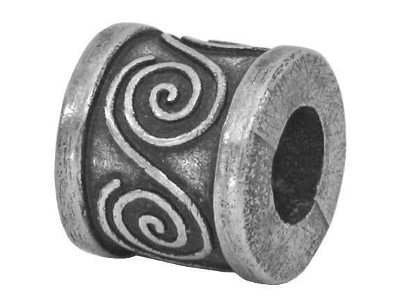Danforth Spiral  3/8 inch Pewter Bead Antique Silver Color