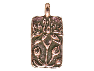 TierraCast Floating Lotus 11/16 inch Pewter Drop Copper Plated Charm