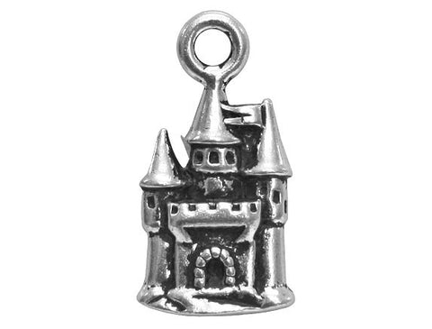 TierraCast Castle<br> 13/16 inch Pewter Charm<br> Silver Plated