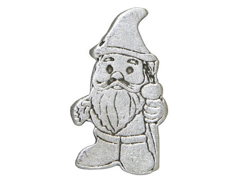TreasureCast Gnome 1 inch Pewter Button Antique Silver Color