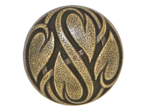Dill Heart Vine 3/4 inch Metal Button Antique Brass Color