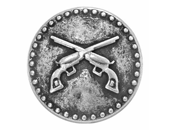 Pistols 3/4 inch Metal Button Antique Silver Color