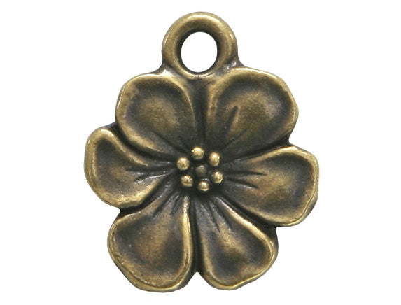 TierraCast Apple Blossom 11/16 inch Pewter Drop Brass Plated Charm