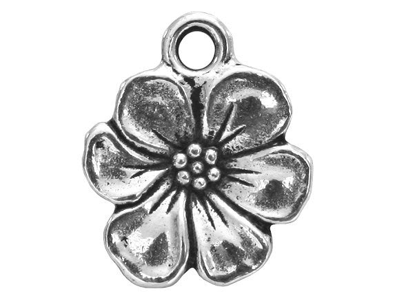 TierraCast Apple Blossom 11/16 inch Pewter Drop Silver Plated Charm