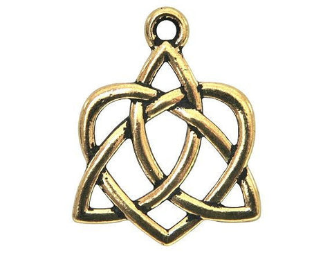 TierraCast Large Celtic Open Heart Large inch Pewter Drop Gold Plated Charm