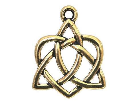 TierraCast Small Celtic Open Heart 13/16 inch Pewter Drop Gold Plated Charm