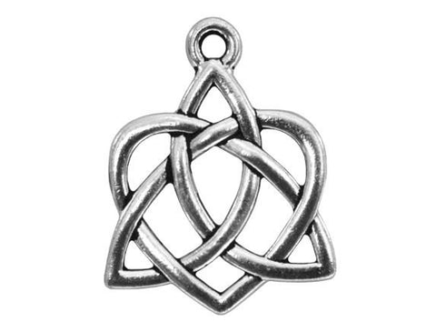 TierraCast Small Celtic Open Heart 13/16 inch Pewter Drop Silver Plated Charm