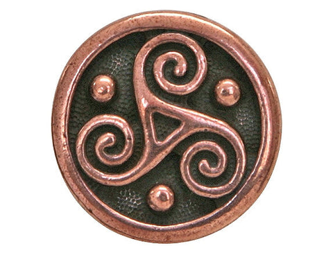 TierraCast Triskele 5/8 inch Pewter Button Copper Plated