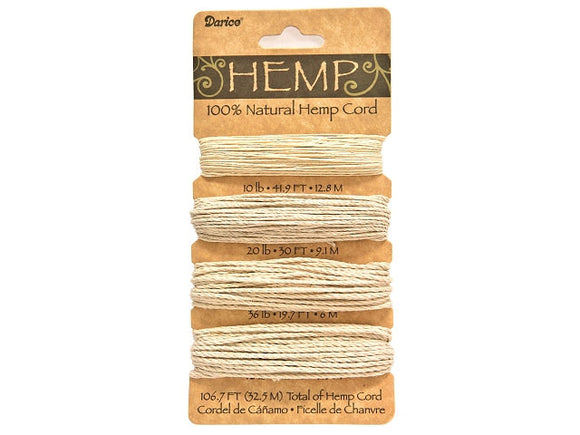 Hemp Cord Natural Color Set 4 sizes (106.7 feet )