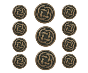 Celtic Knot 11 pc Metal Blazer Button Set Antique Brass Color