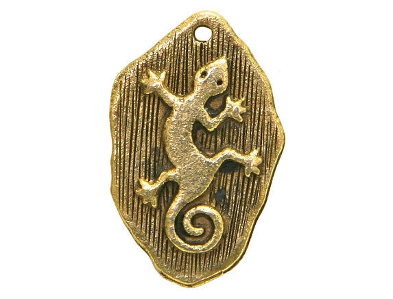 Gecko Petroglyph 13/16 inch Pewter Charm Antique Gold Color