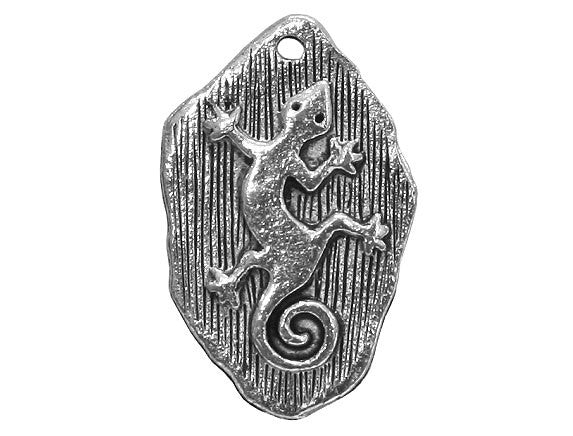 Gecko Petroglyph 13/16 inch Pewter Charm PewterAntique Silver Color