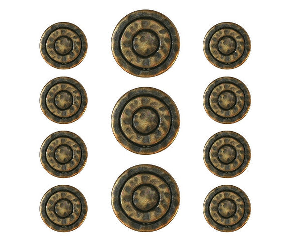 Mystic Rings 11 pc Metal Blazer Button Set Antique Brass Color