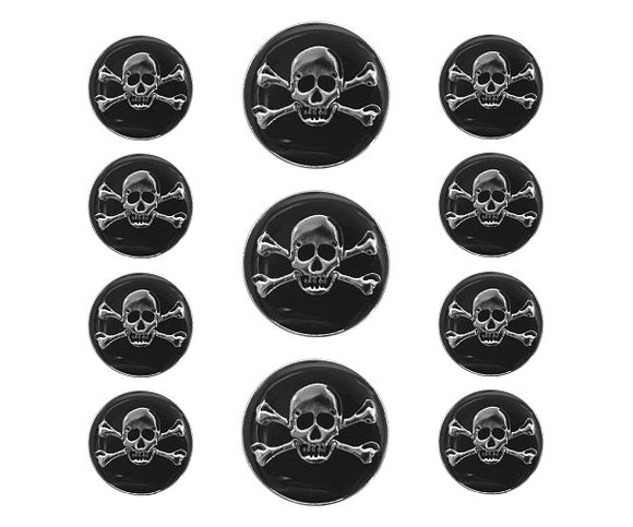 Dill Jolly Roger Skulls 11 pc Metal Blazer Button Set Silver / Black Color