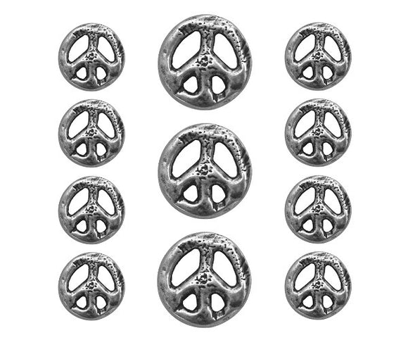 Organic Peace Sign 11 pc Metal Blazer Button Set Silver Color