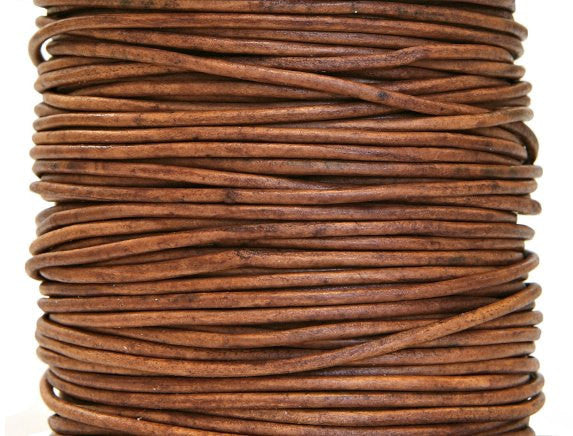 Round Leather Cord 1 mm Diameter Natural Light Brown By the Yard