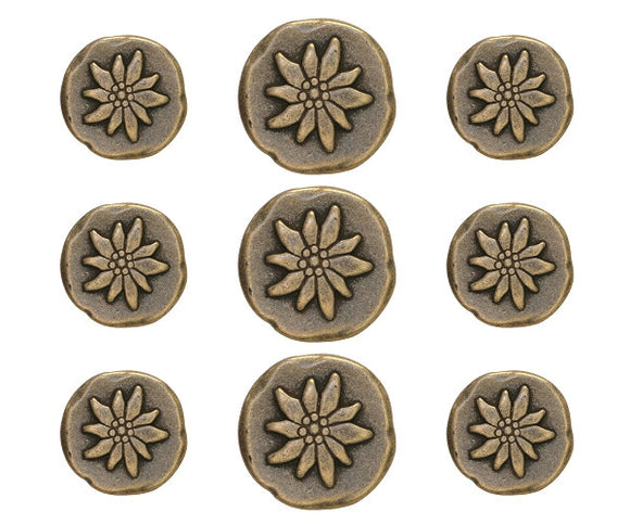 Mountain Flower 9 pc Metal Blazer Button Set Antique Brass Color