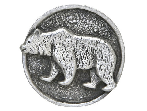 TreasureCast Grizzly Bear 1 inch Pewter Button Antique Silver Color