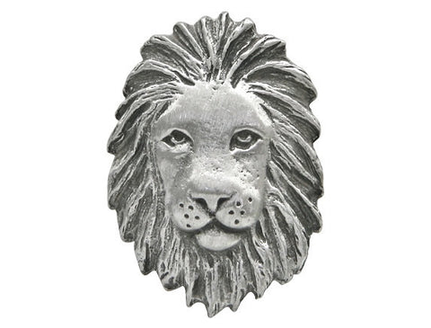 TreasureCast African Lion 1 inch Pewter Button Antique Silver Color