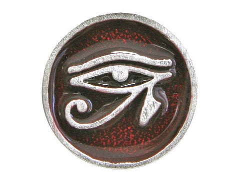 TreasureCast Eye of Horus 11/16 inch Pewter Button Silver / Red Color