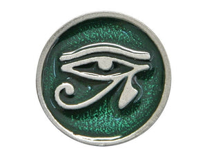 TreasureCast Eye of Horus 11/16 inch Pewter Button Silver / Green Color