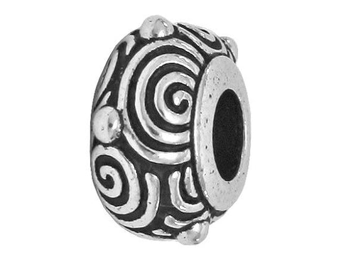 TierraCast Spiral Euroo 7/16 inch Silver Plated Pewter Bead