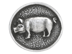 TreasureCast Oval Pig 15/16 inch Pewter Button Antique Silver Color