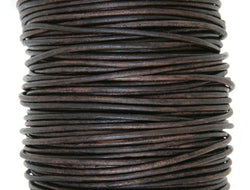 Round Leather Cord 1 mm Diameter Natural Antique Brown By the Yard