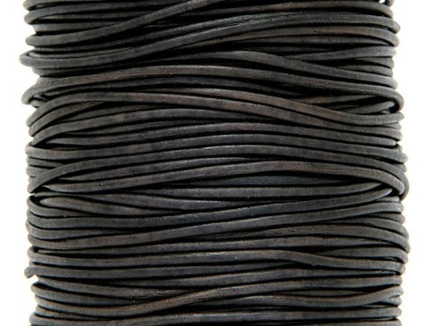 Round Leather Cord 1 mm Diameter Natural Dark Brown By the Yard